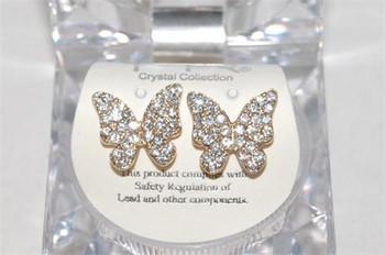 Studded Gold Butterfly Earrings