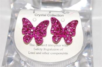 Studded Fushia Butterfly Earrings