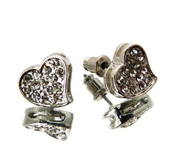 Silver Hearts Studs
