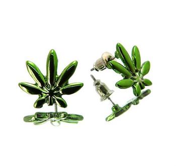Shiny Green Marijuana Studs