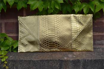Rectangle Gold Metallic Snake Look Envelope Purse