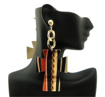 Gold Cross Cutout Earrings