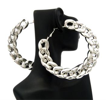 Silver Rope Chain Hoop Earrings