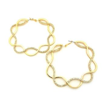 Gold Diamond Twist Hoop Earrings