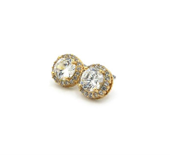 Diamond Cluster Gold Cubic Stud Earrings