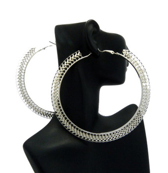 Silver Geometric Thin Hoop Earrings