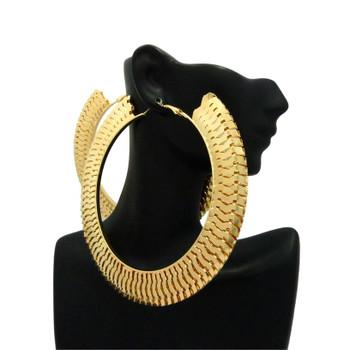 Gold Interlock Thick Hoop Earrings