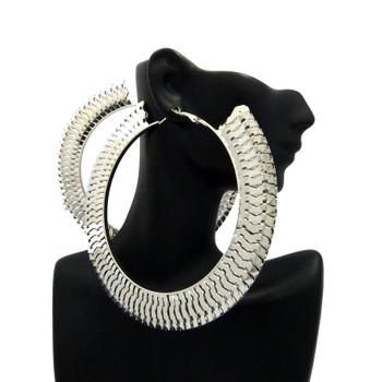 Silver Interlock Hoop Earrings