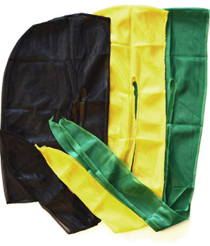Solid Silky Du-rags Black Yellow Green
