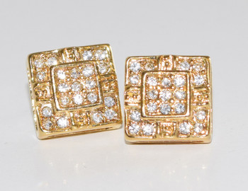 Gold Double Square Studs