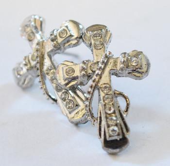 Silver Roped Cross Earrings