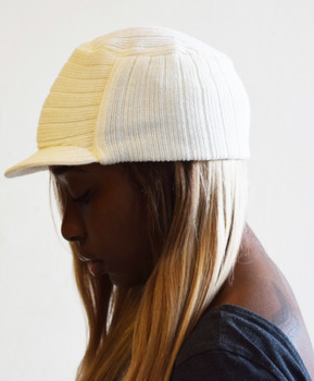 Off-white Knit Hat with Visor