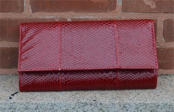Red Snake Clutch Handbag