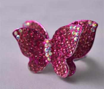 Icy Two Layered Pink Butterfly Ladies Ring