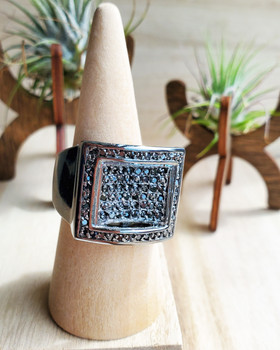 Iced Out Black Hematite Engraved Square Mens Ring