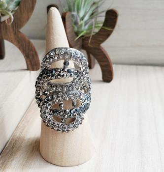 Swirlie Black Stones Silver Ladies Ring