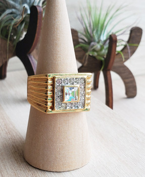 Lines with Stone in Middle Gold Ring
