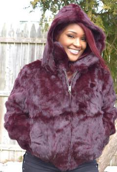 Ladies Burgandy Rabbit Bomber Fur Jacket