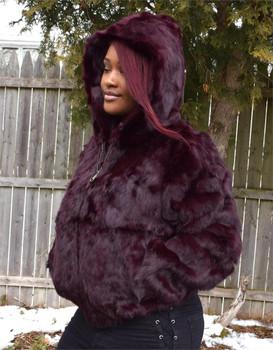 6af226e6a Ladies Burgandy Rabbit Bomber Fur Jacket Ladies Burgandy Rabbit Bomber Fur  Jacket