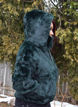 Ladies Blue Green Rabbit Bomber Fur Jacket