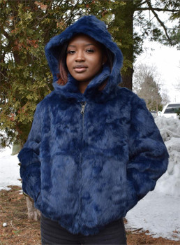 Ladies Blue Rabbit Bomber Fur Jacket