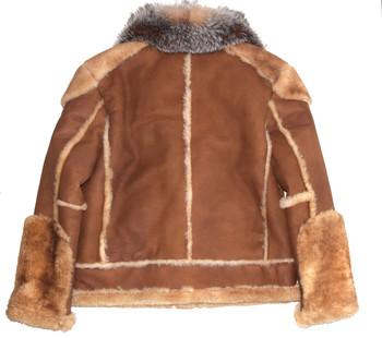 Brown Pilot Sheepskin with Fox Collar