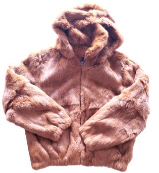 Ladies Tan Rabbit Bomber Fur Jacket