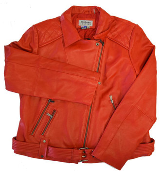 Need The Rose Gold Mascot Red Leather Motorcycle Jacket