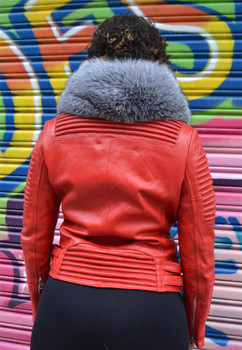 Ladies Ribbed Red Motorcycle Leather Jacket