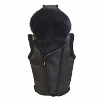 Jakewood G Gator Black Nappa Sheepskin Vest with Fox Fur Hood