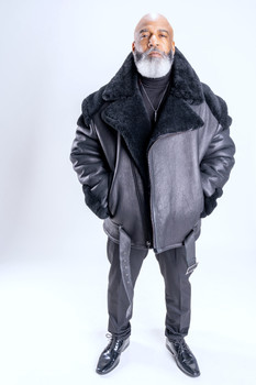 Black Napa Racing Sheepskin Jacket