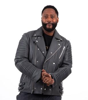 Grey Leather Ribbed Arm Motorcycle Jacket