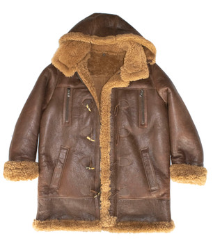 Brown Three Quarter Toggle Button Shearling Coat