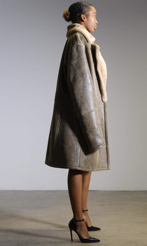 Unisex Antique Brown Shearling Trench Coat