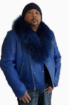 fb8cd6206934 Royal Blue Moto Jacket with Fur Collar ...