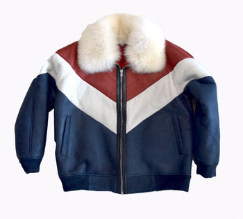 Red, White and Blue Sheepskin Bomber