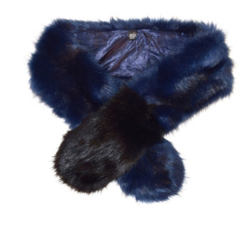 Ladies Blue Faux Fur Shawl