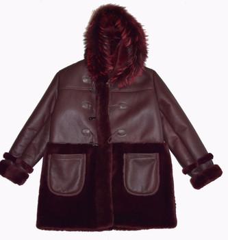 Wine Inside Out Sheepskin Jacket