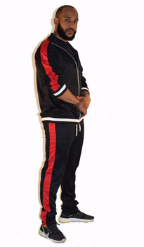Black with Red Strip Track Suit