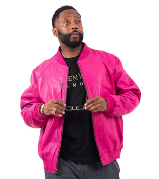Fuschia Leather Baseball Jacket