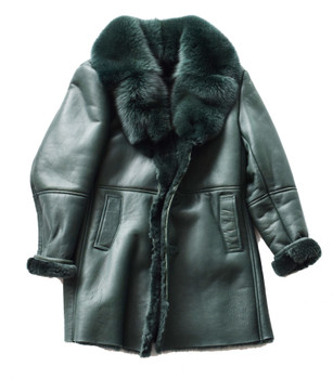 c7110a9910 Emerald Green Three Quarter Shearling Sheepskin coat ...