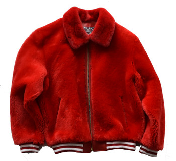 Red Fur Mouton Varsity Bomber Jacket