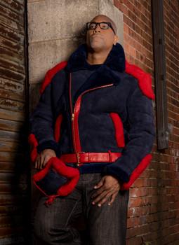 Red and Blue Moto Shearling Sheepskin Jacket