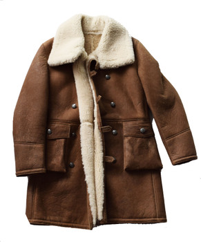 Brown Toggle Hook Trench Sheepskin Coat