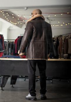 Brown Leather finish Sheepskin Coat