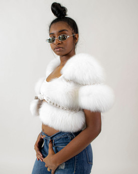 Ladies White Cropped Bolero Fox Fur Jacket