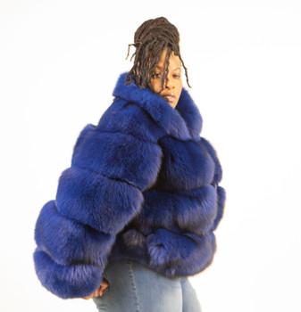 Ladies Blue Fox Jacket