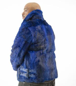 Mens Royal Blue Fur Biker Jacket