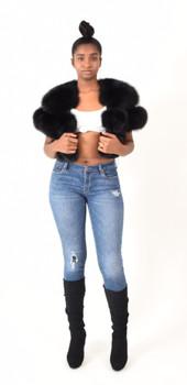 Ladies Black Fox Fur Bolero Jacket