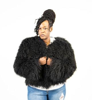 Ladies Black Persian Lamb Fur Jacket